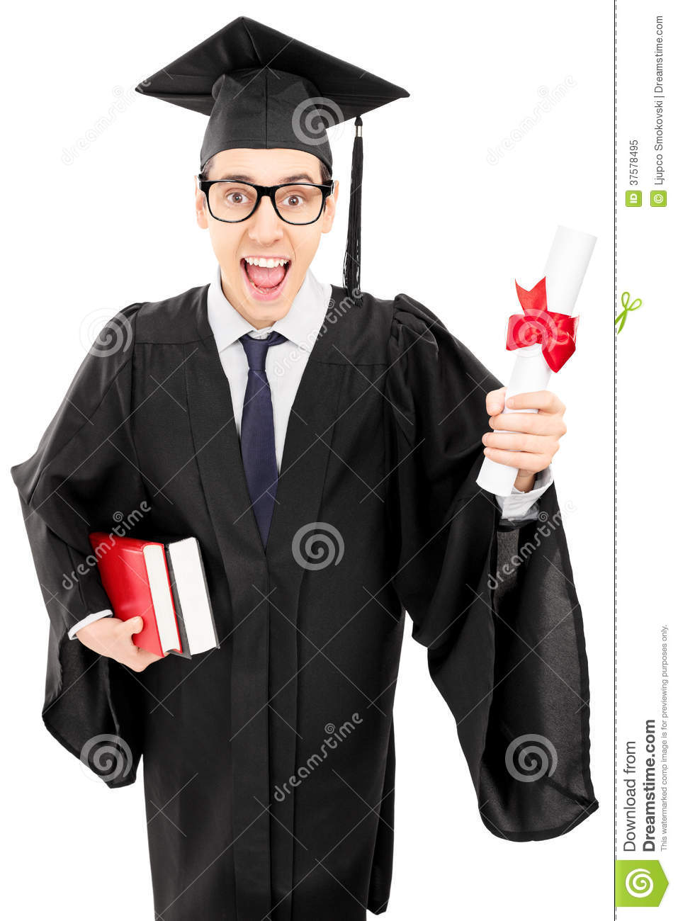 Young Man In Graduation Gown Holding Books And A Diploma Stock Image ...