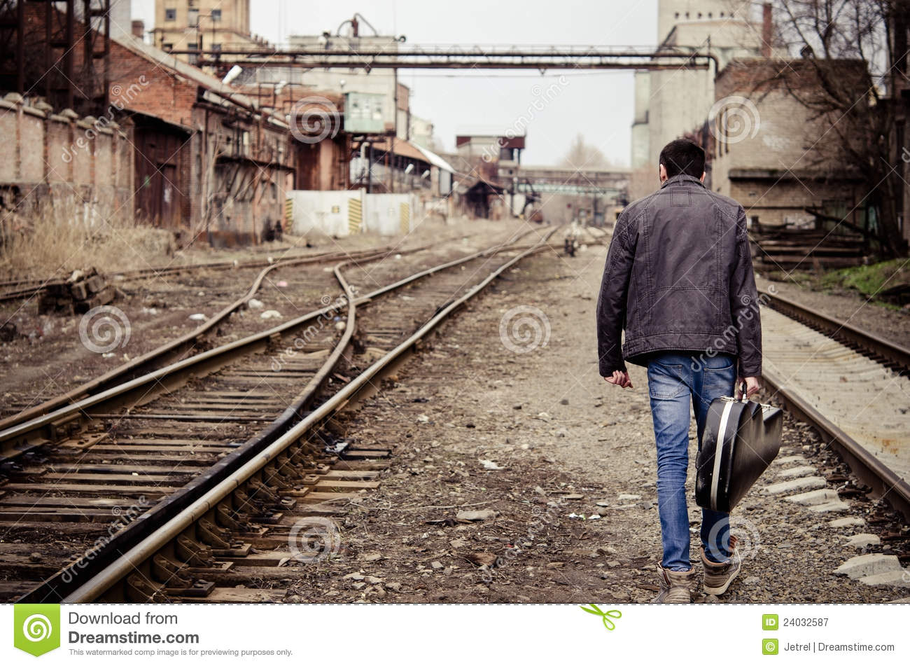 Young Man With Guitar Case Is Going Away Royalty Free