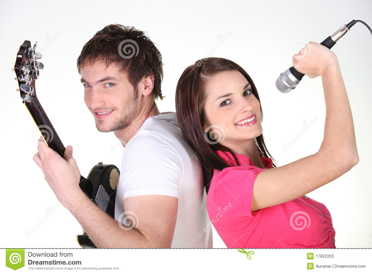 Young Man With Guitar And Woman Singing Stock Photos