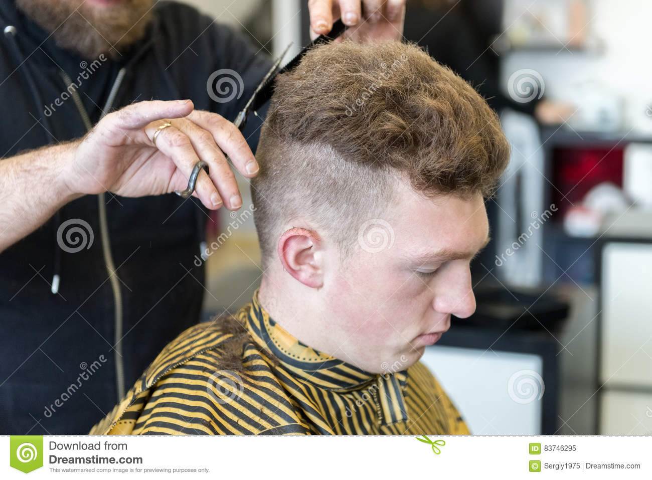 Young Man On A Haircut In The Barber Shop Stock Image Image Of