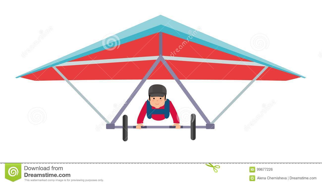 Young Man On A Hang Glider  Illustration On White Background