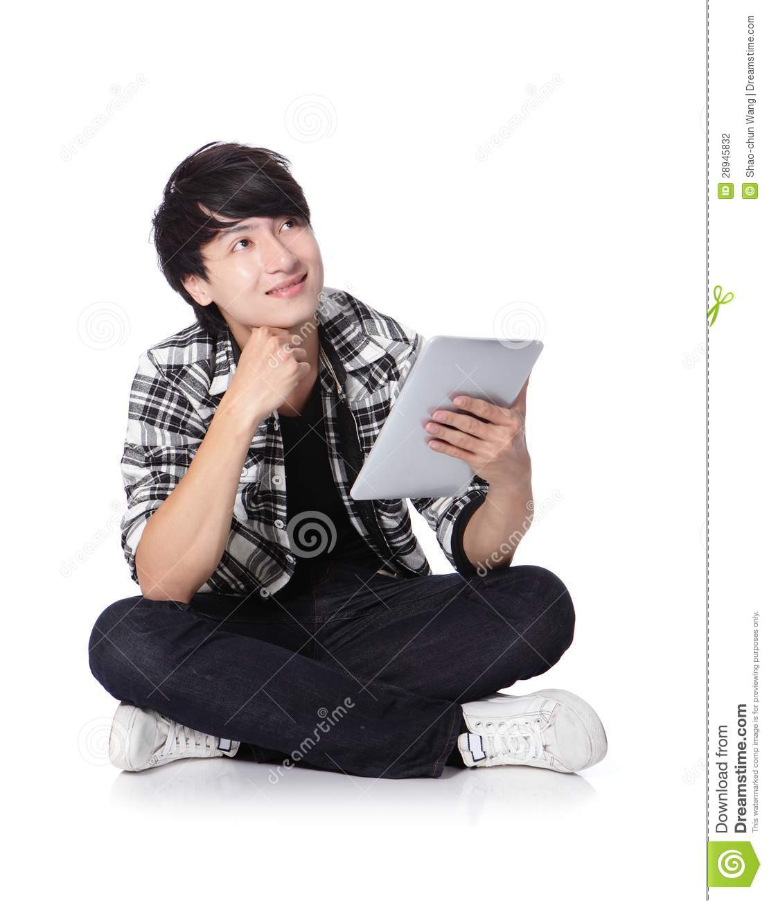 young student man happy using tablet pc and look to copy