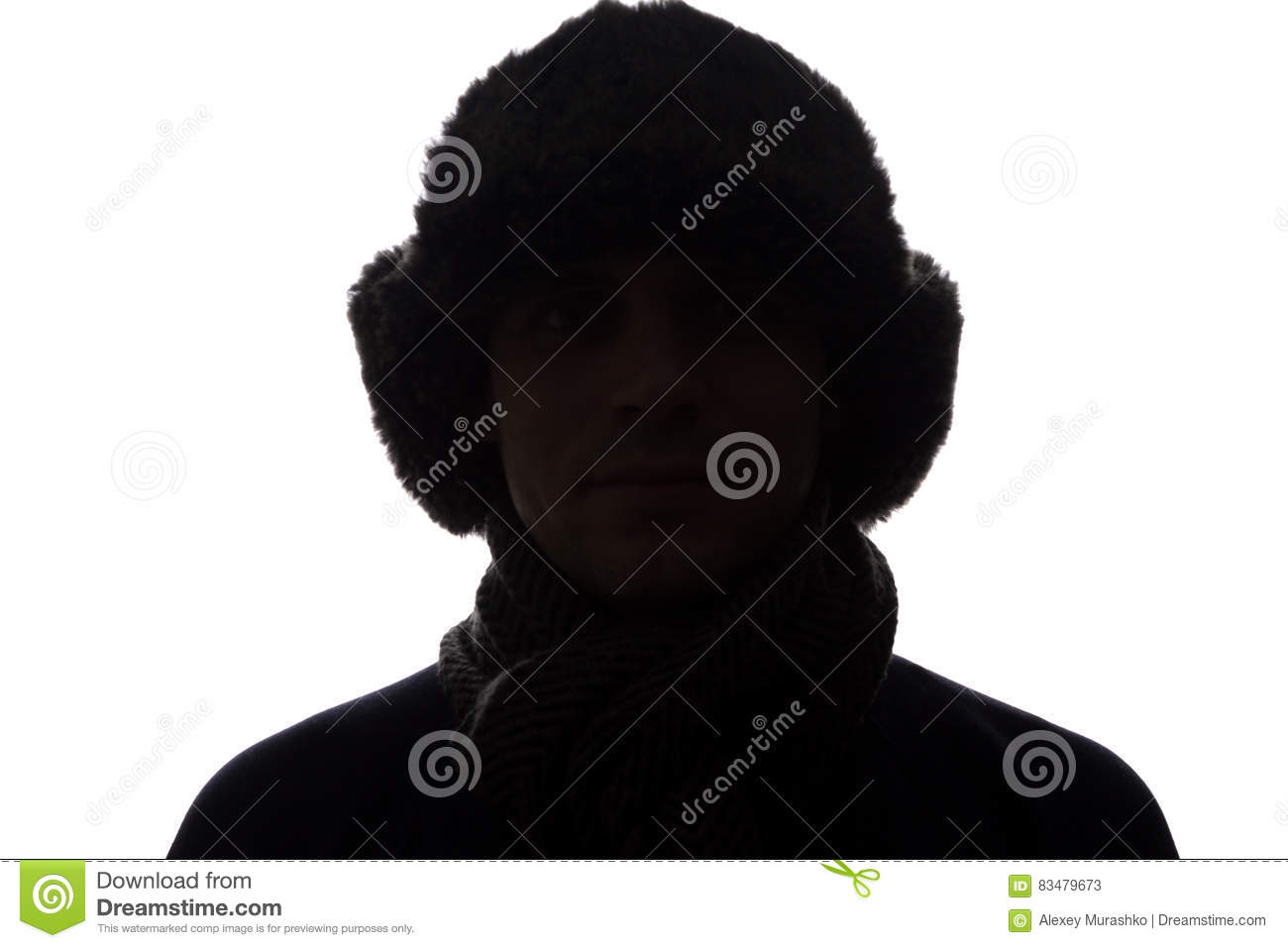 young man in hat and gloves look ahead horizontal silhouette stock