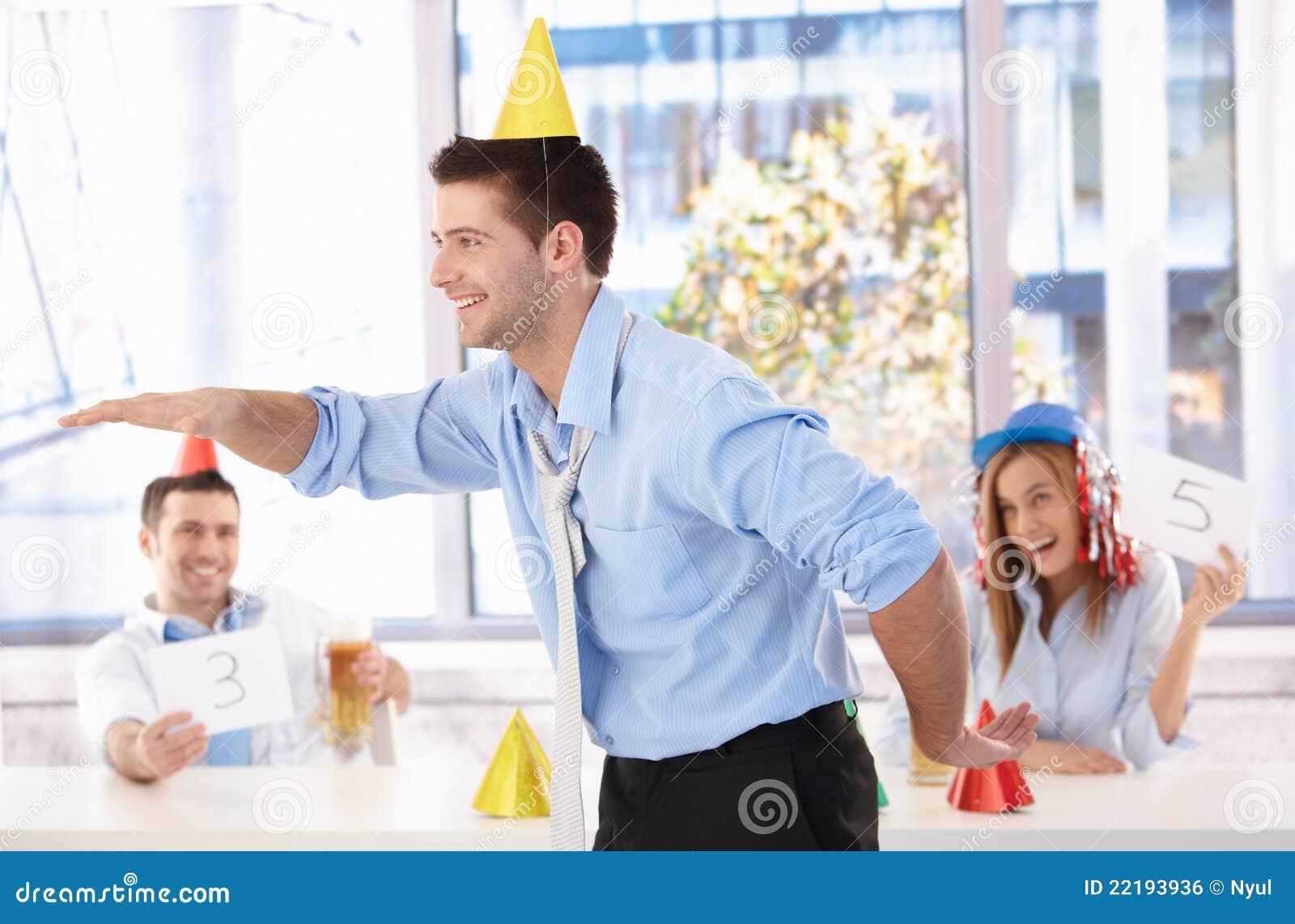 young man having fun at office party royalty stock image young man having fun at office party