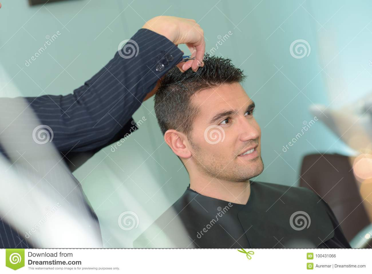 Young Man Having Haircut With Scissors Stock Photo Image Of Saloon