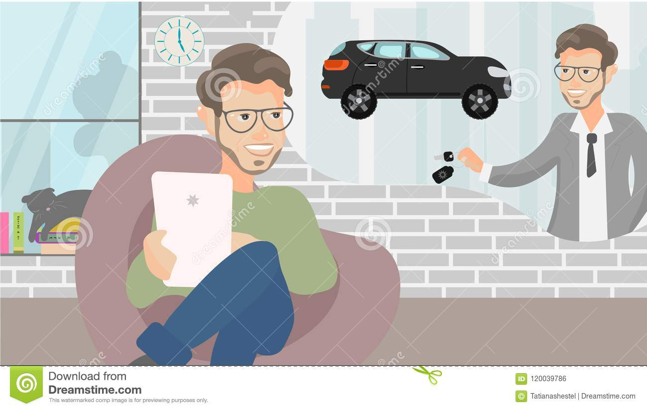 Vector illustration.Young man having idea how to collect money. The savings money from working. Business man. Hand holding the key