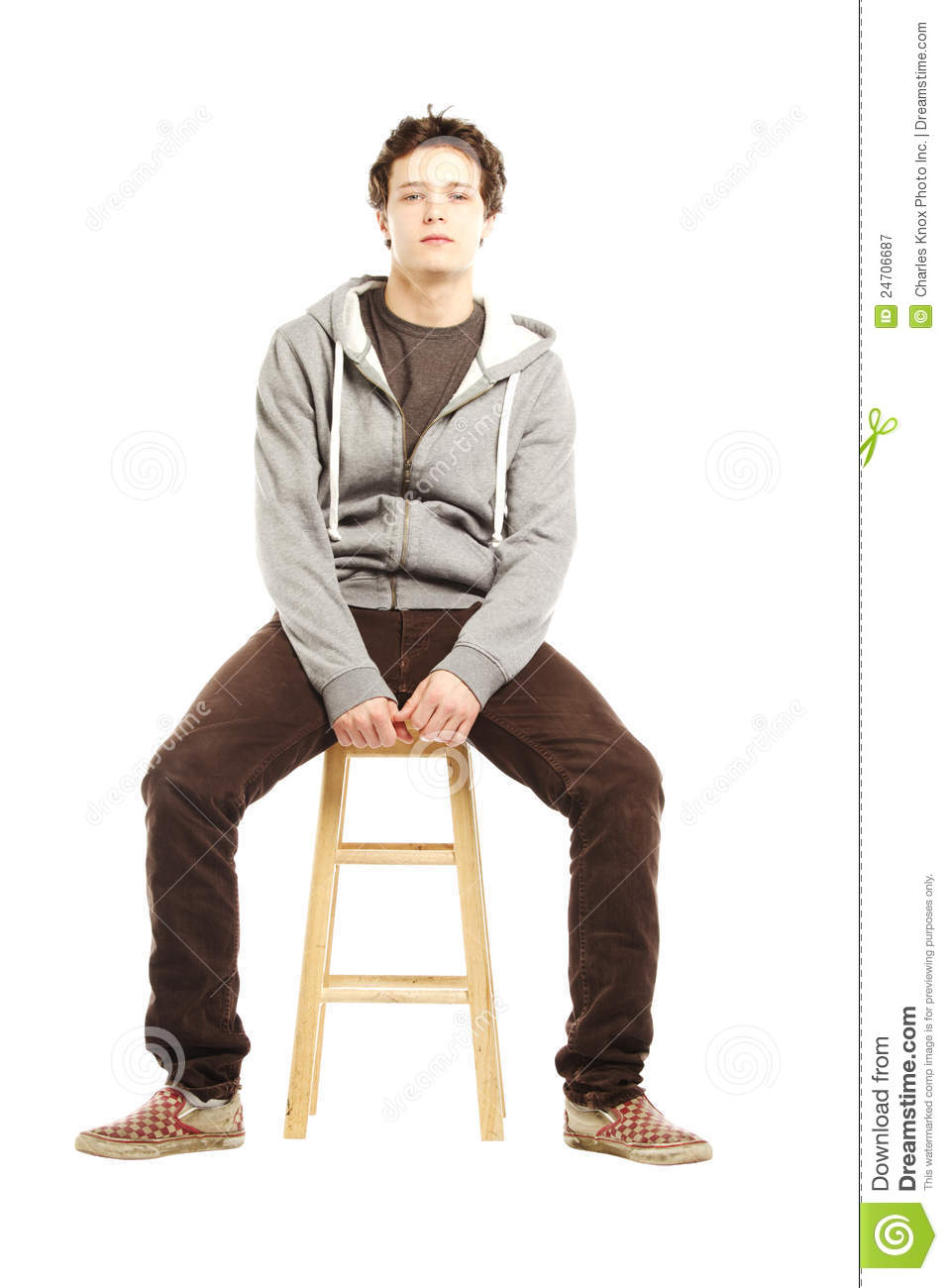 Young Man With Hip Style Sitting On Stool Royalty Free Stock Photography Image 24706687