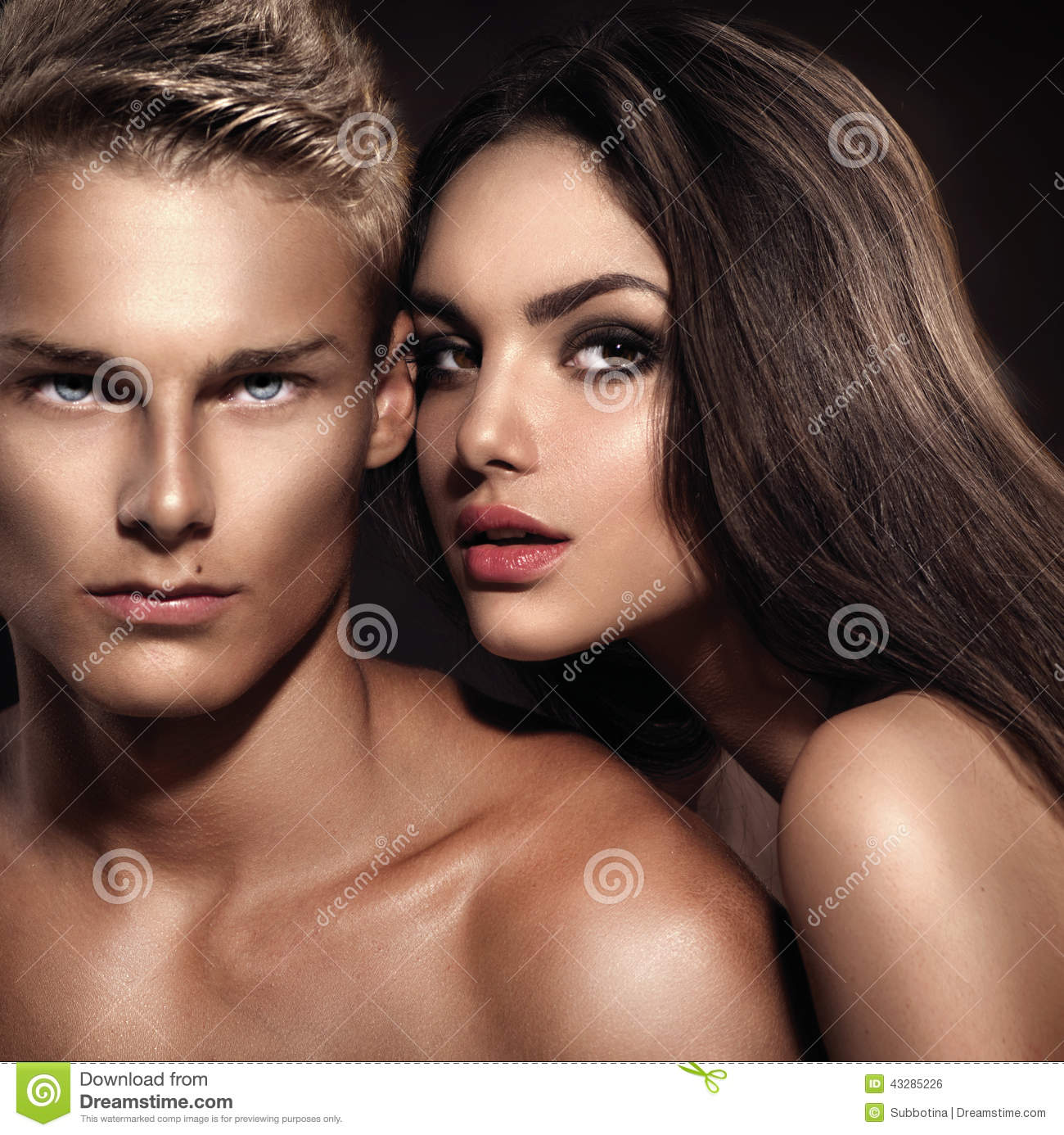Young man with his girlfriend posing