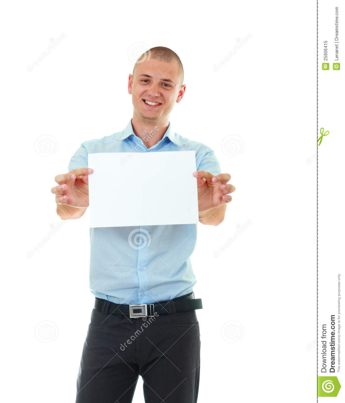 Young Man Holding Blank Card Stock Image