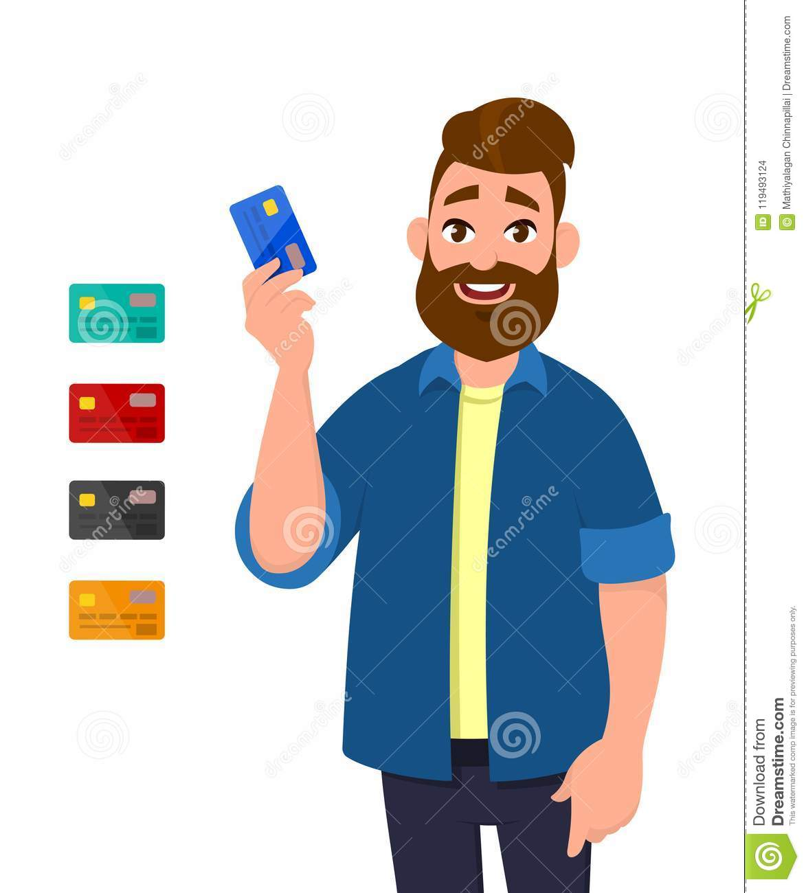 Man showing/holding credit/debit card. Digital transaction payment, business and finance, wireless transaction concept.
