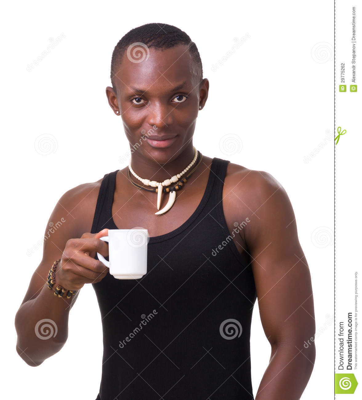 Young Man Holding A Cup Of Coffee Stock Photo