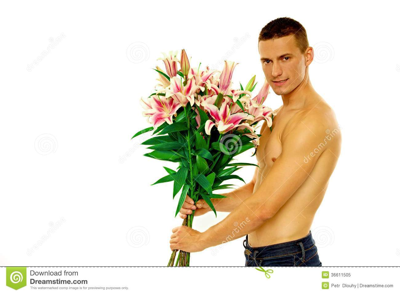 man holding flowers