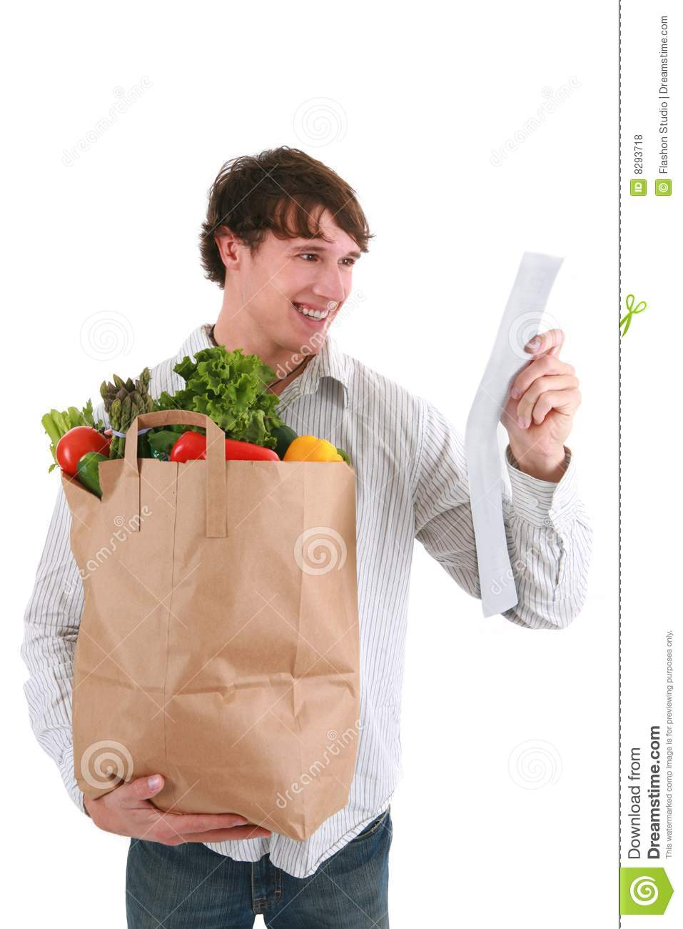 Gas Credit Card >> Young Man Holding Groceries Paper Bag And Receipt Stock Photo - Image of people, sack: 8293718
