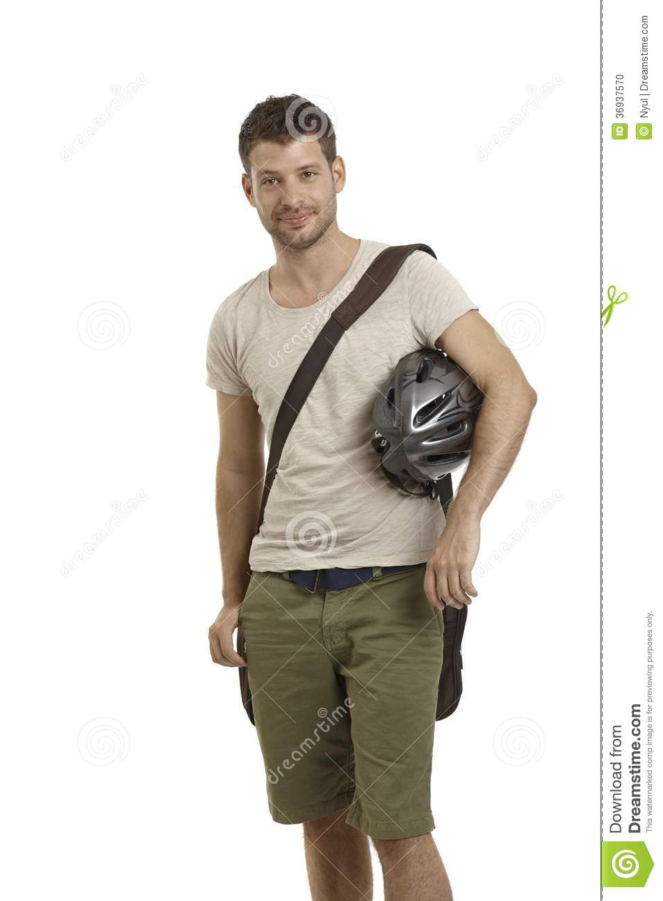 Young Man Holding Helmet Stock Photo Image Of Image