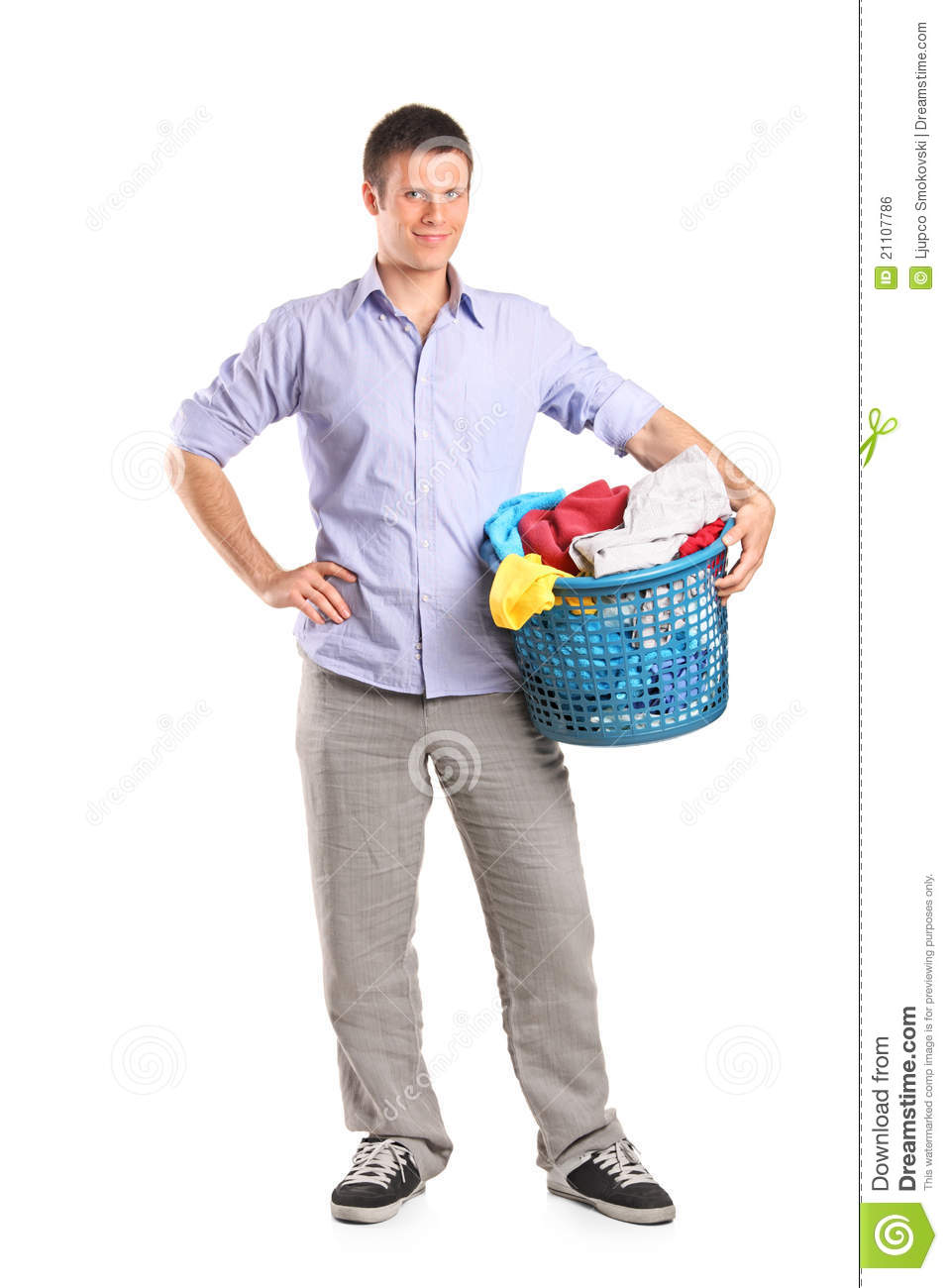 Young Man Holding A Laundry Basket Stock Photo Image Of