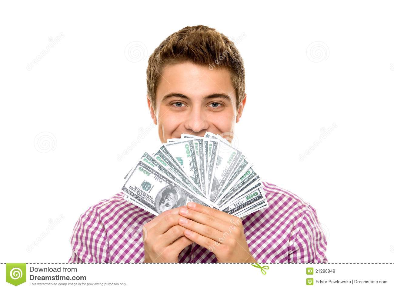 Young Man Holding Money Stock Photo Image Of Bills