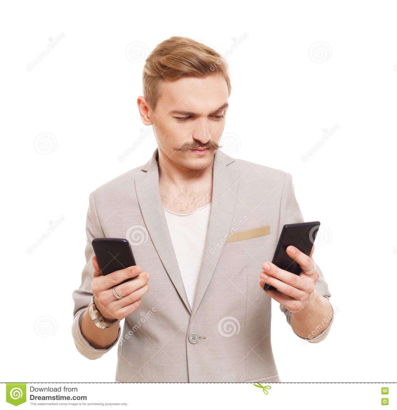 Man On Cell Phone : Choose mobile phone pile of new cellphones stock photo