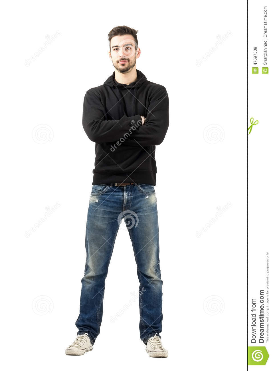 full body hoodie young man in hoodie with crossed arms looking at camera 1742