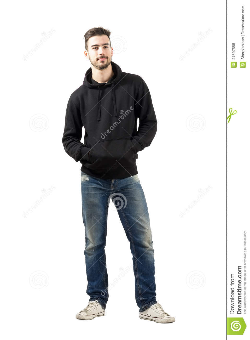 full body hoodie young man in hoodie with hands in pockets smiling at 4186