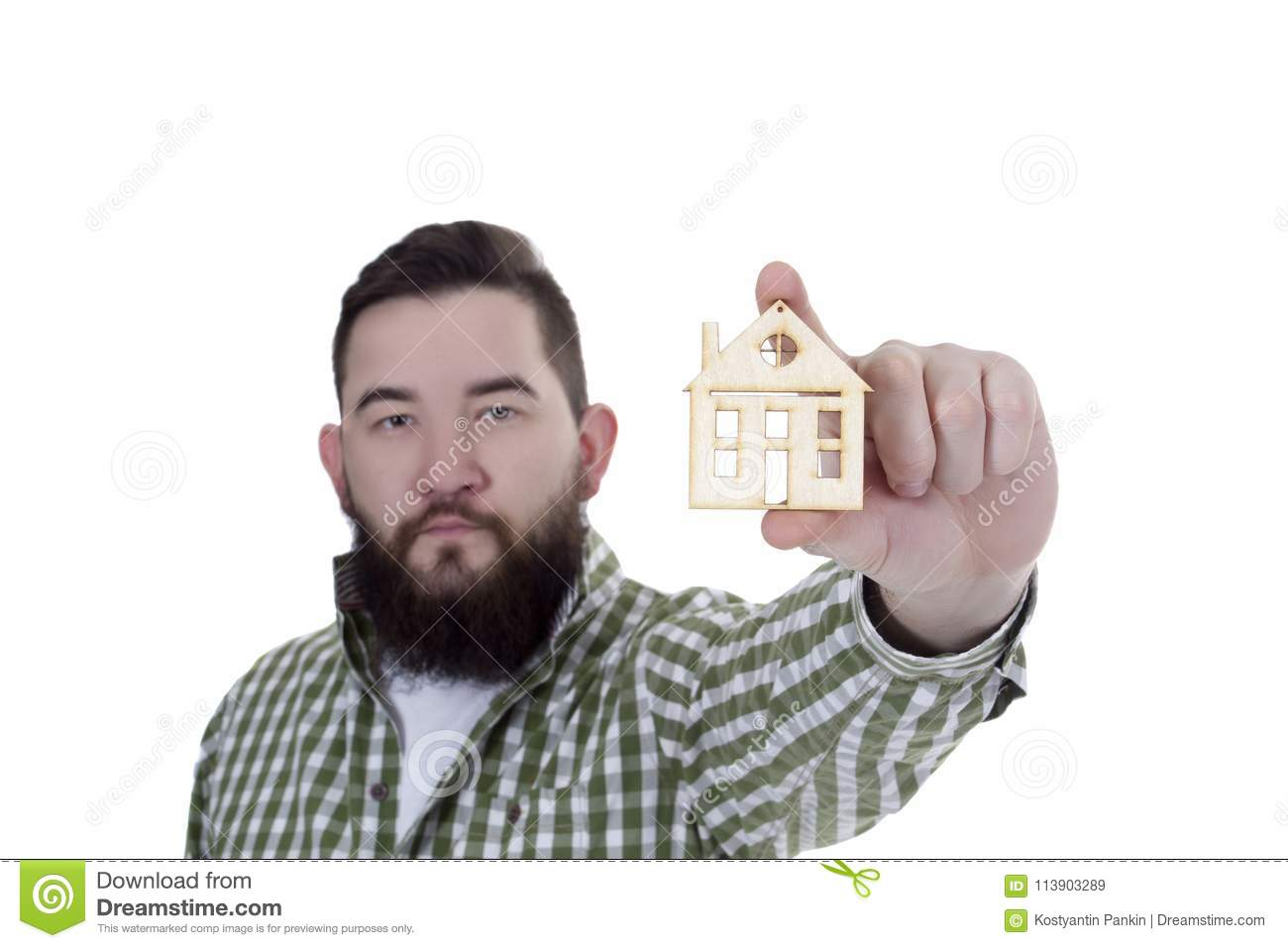 Young Man With House Model Stock Image Image Of Adult 113903289