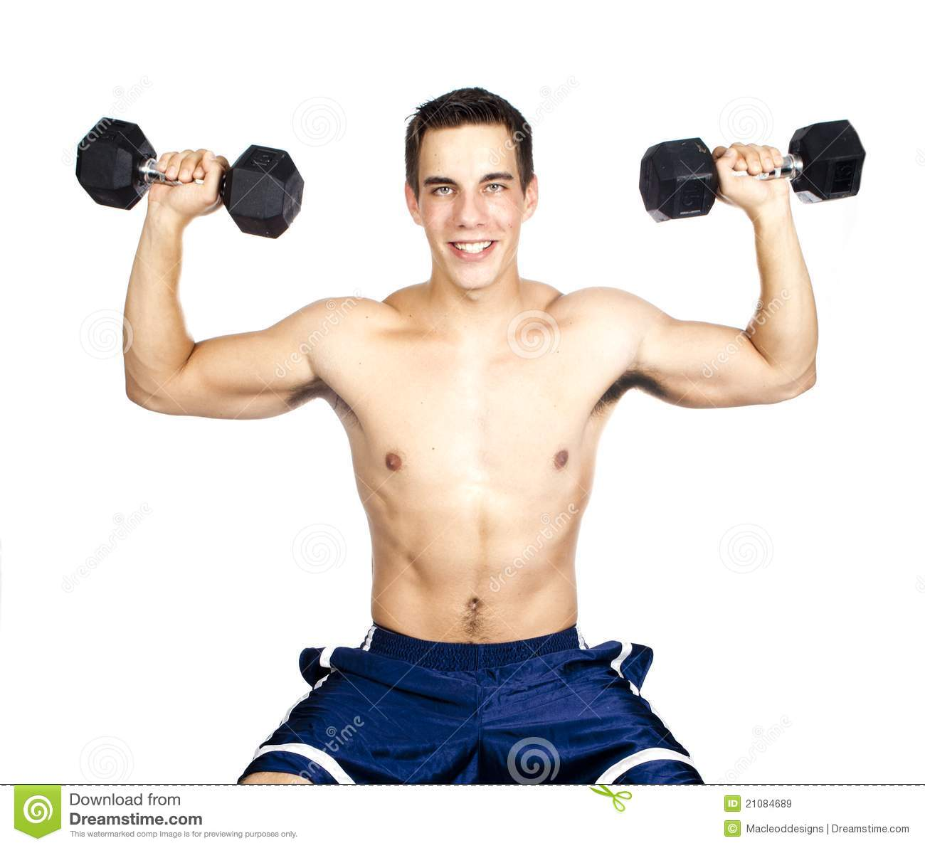 Young man lifting weights stock image. Image of fitness ...