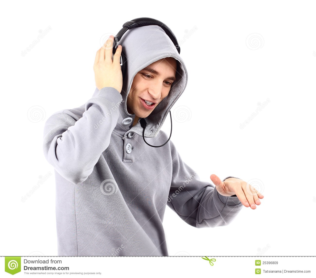 Young Man Listen Music With Headphones Stock Image - Image ...