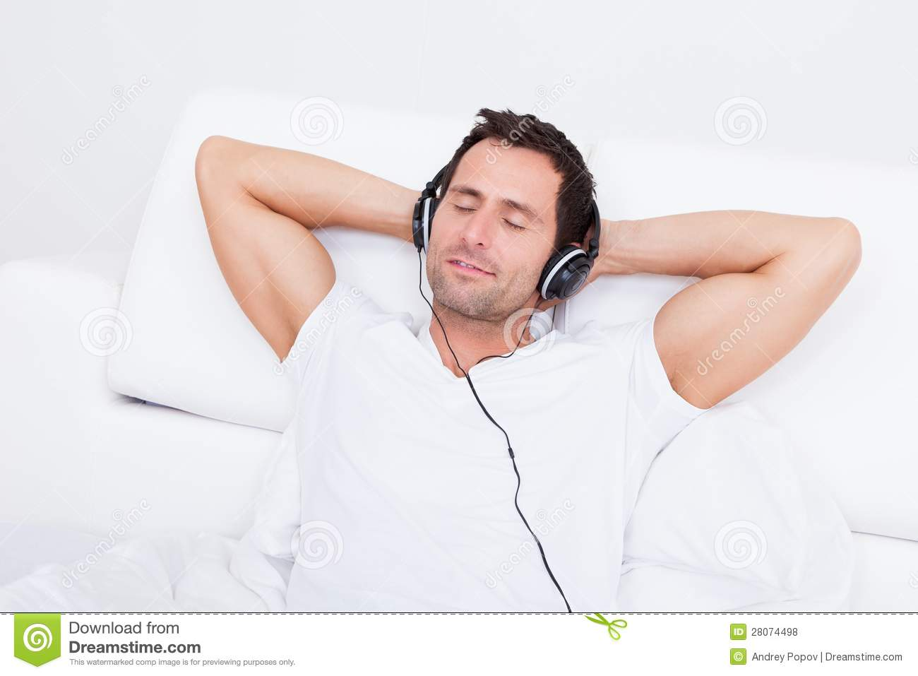 Young Man Listening Music On Headphone Royalty Free Stock ...