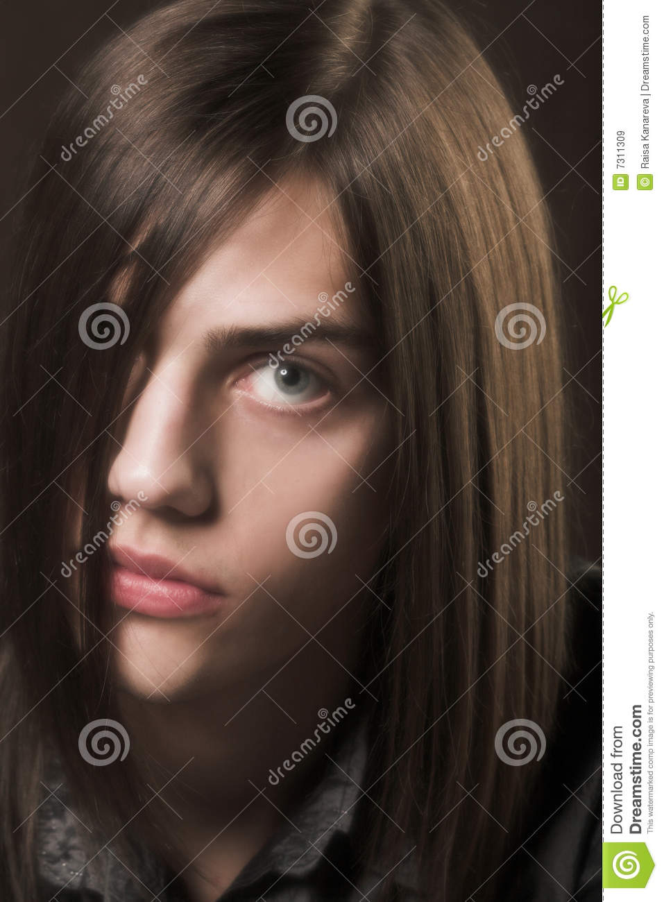 Young man with long hair stock image. Image of attractive ...