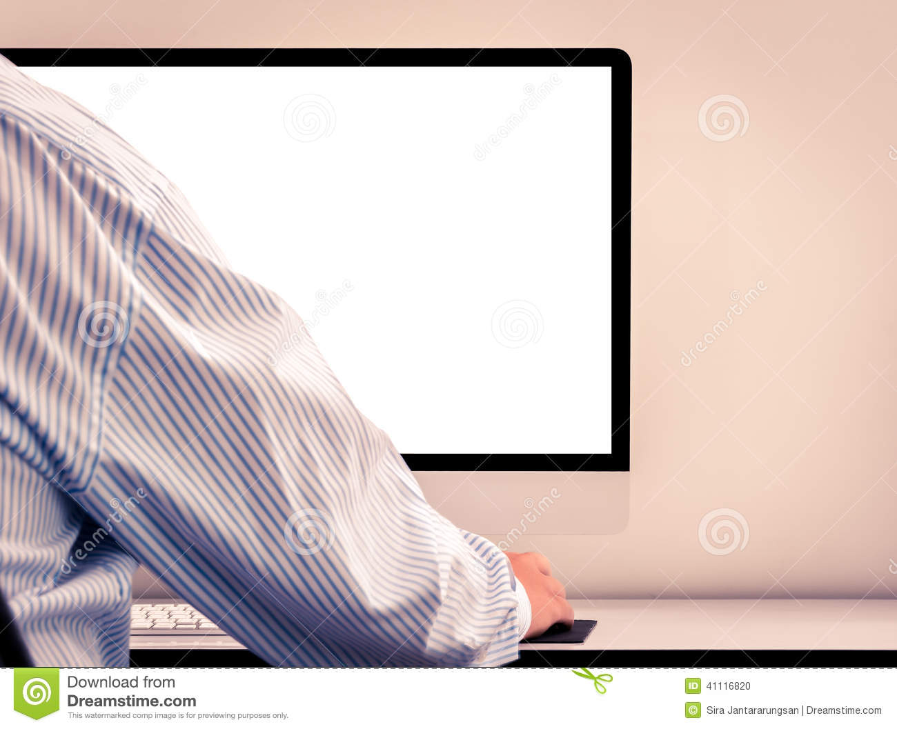 Young Man Looking At Empty Computer Screen Stock Photo - Image ...