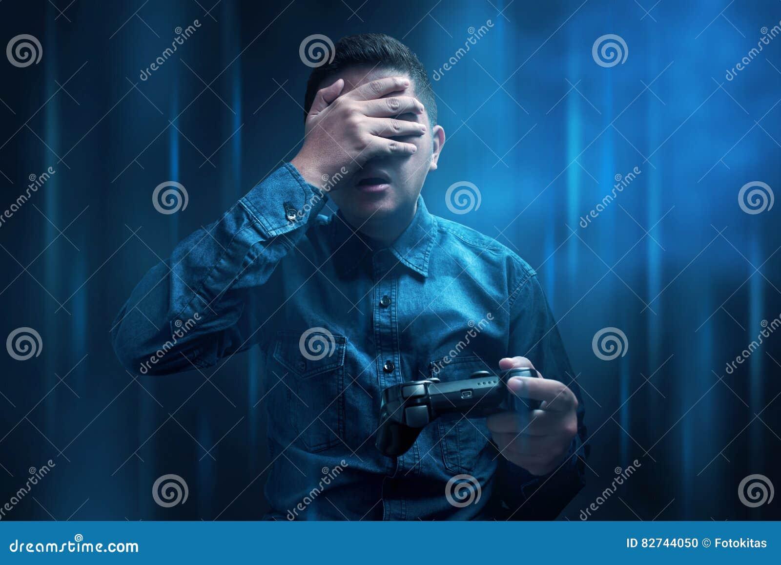 Young man lose playing game