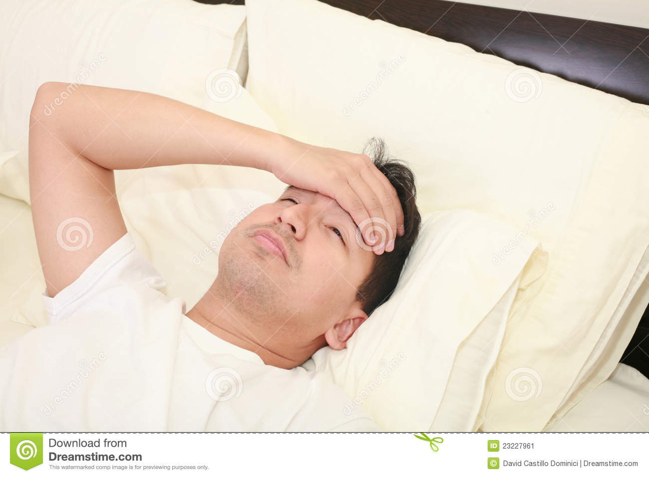 Young Man Lying Down In Bed Stock Image Image Of Headache