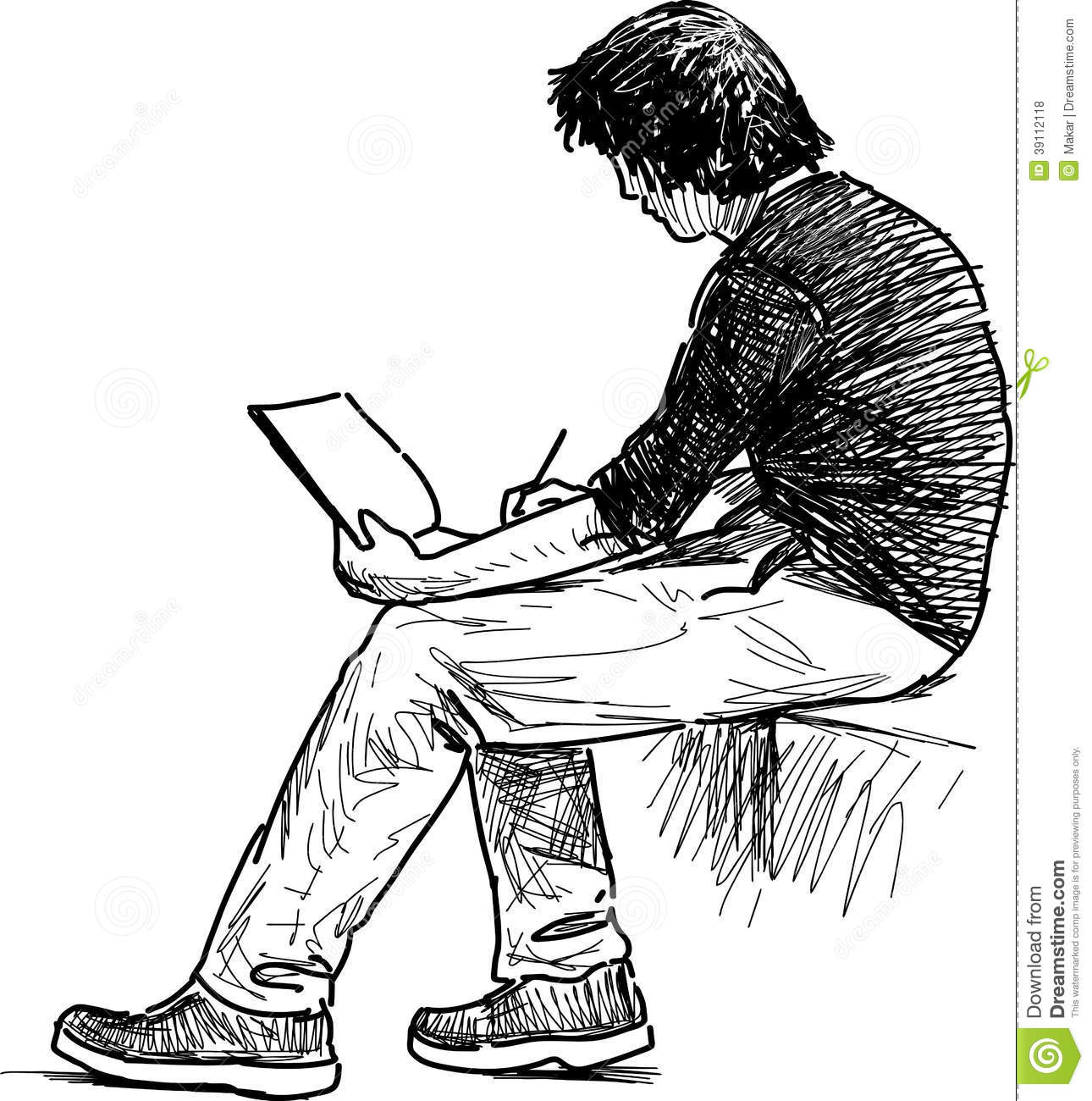 Young Man Makes Sketches Stock Photo. Image Of White - 39112118