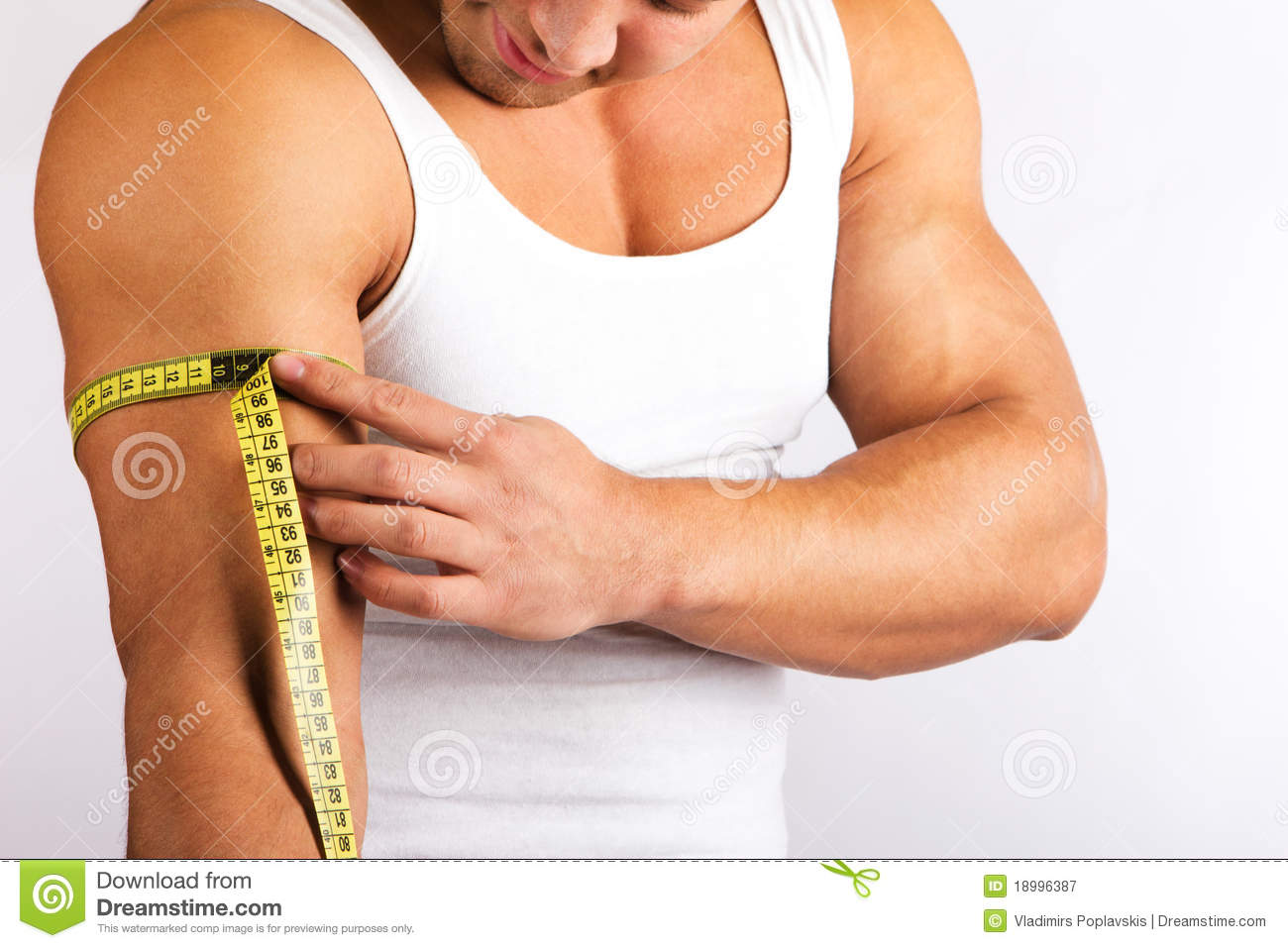 young man measuring his biceps royalty free stock photography image 18996387. Black Bedroom Furniture Sets. Home Design Ideas