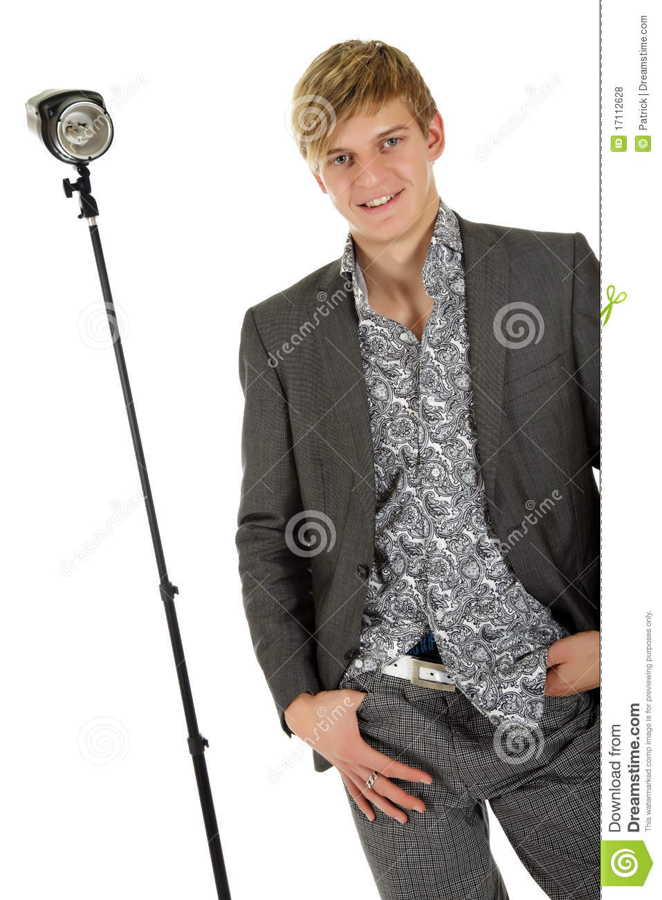 Young man model, thumb in pocket