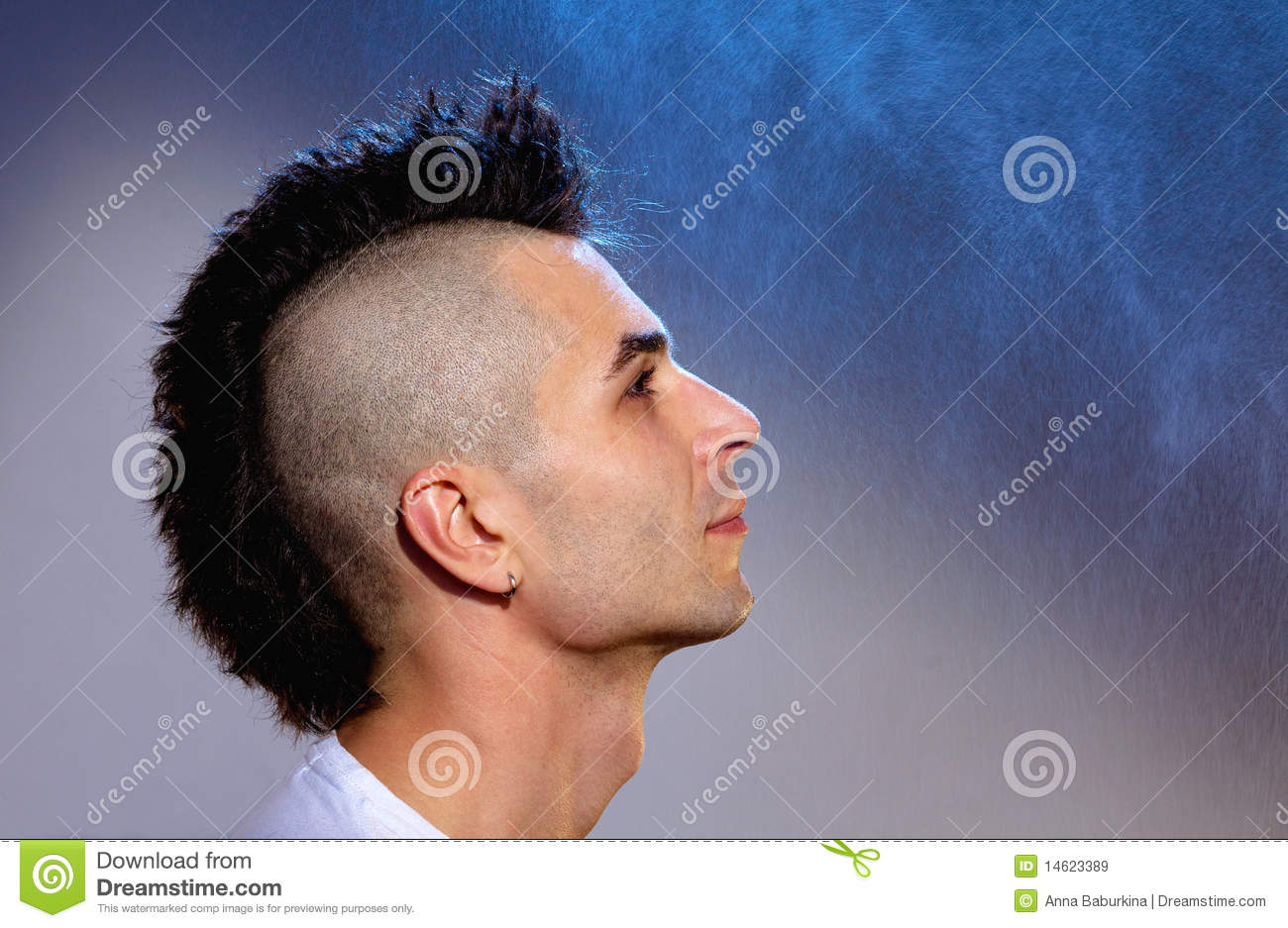 Young Man With Modern Hair Style Stock Image Image Of Cool