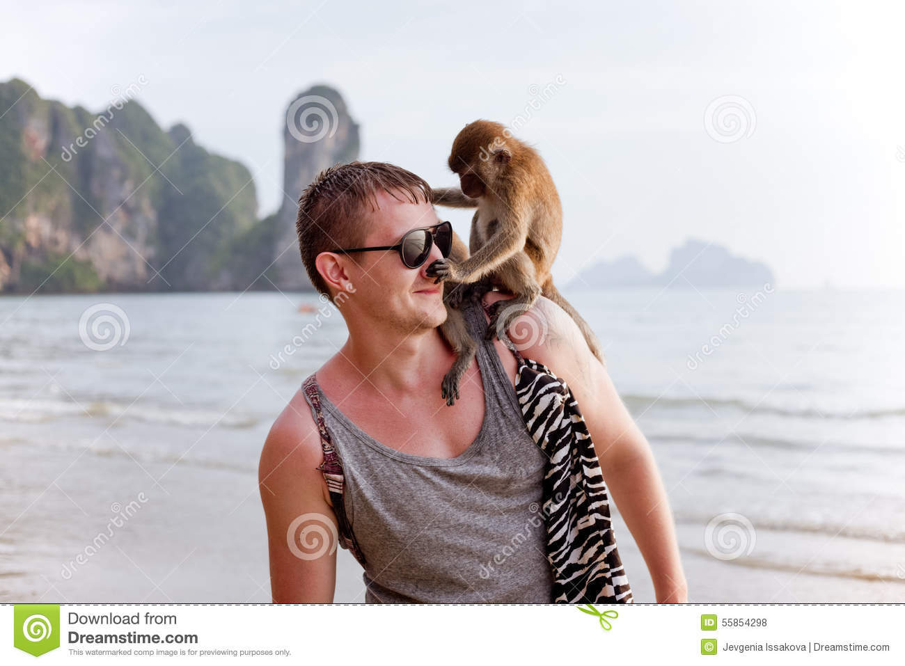 Young Man With Monkey On His Shoulder Stock Photo Image