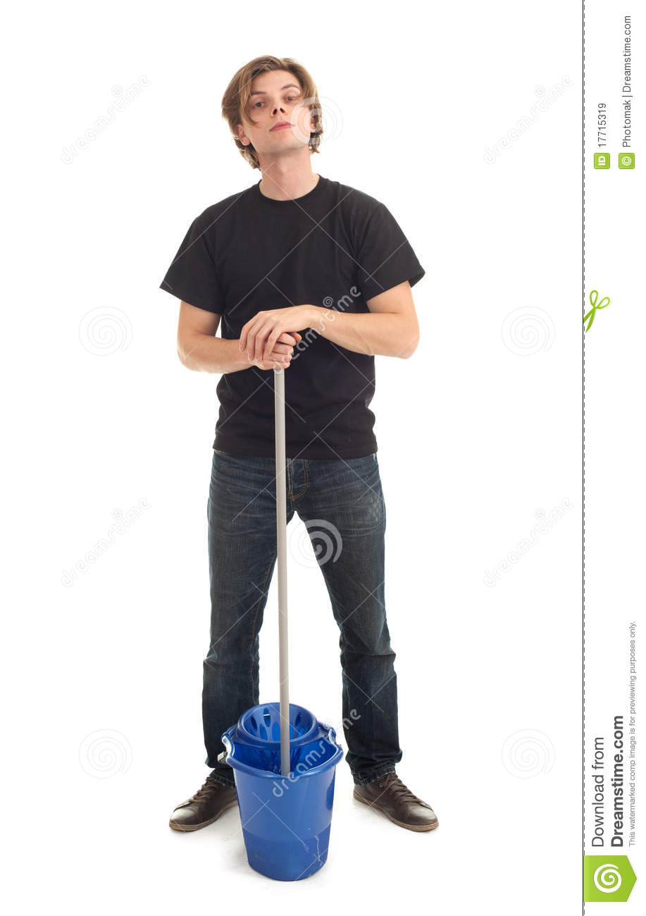 Young Man With Mop And Bucket Stock Image Image Of