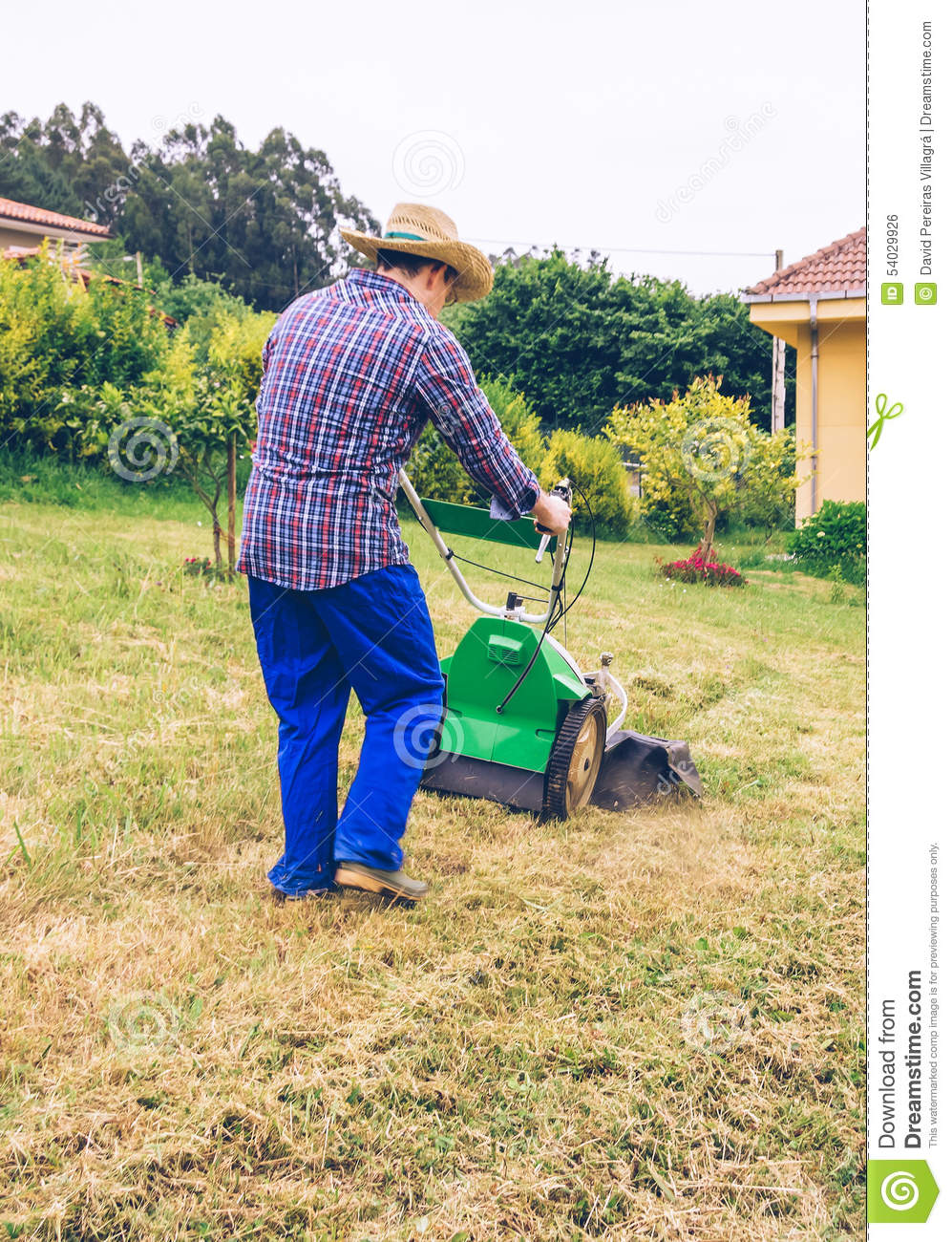 Young Man Cutting Grass With A Push Lawn Mower Cartoon