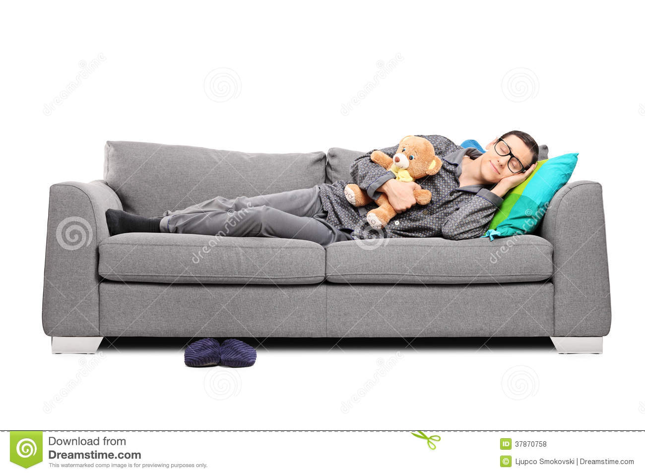 Young Man In Pajamas Sleeping On Couch With Teddy Bear  : young man pajamas sleeping couch teddy bear 37870758 from www.dreamstime.com size 1300 x 957 jpeg 107kB