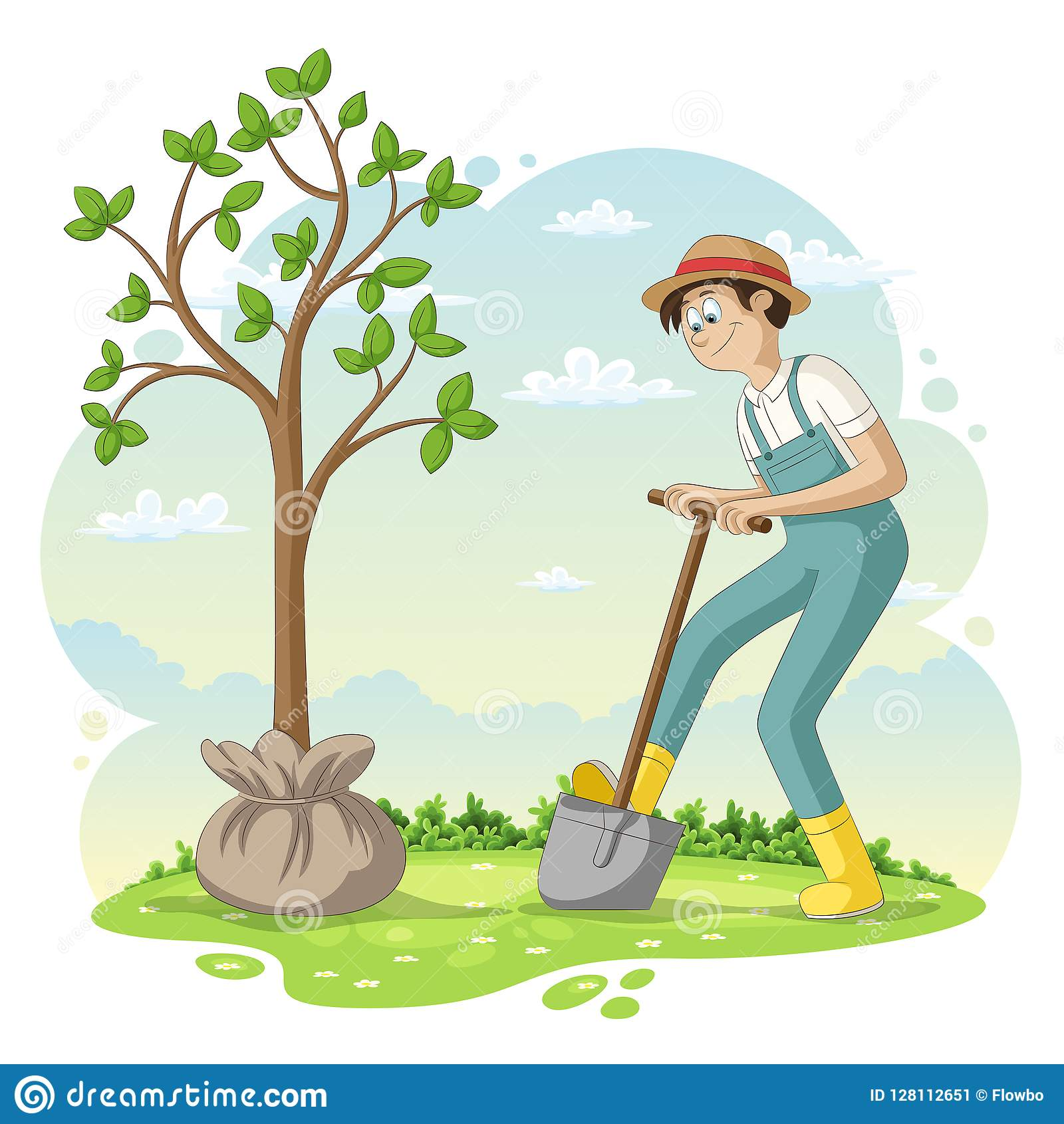 Man Is Planting A Tree Stock Vector Illustration Of Tree