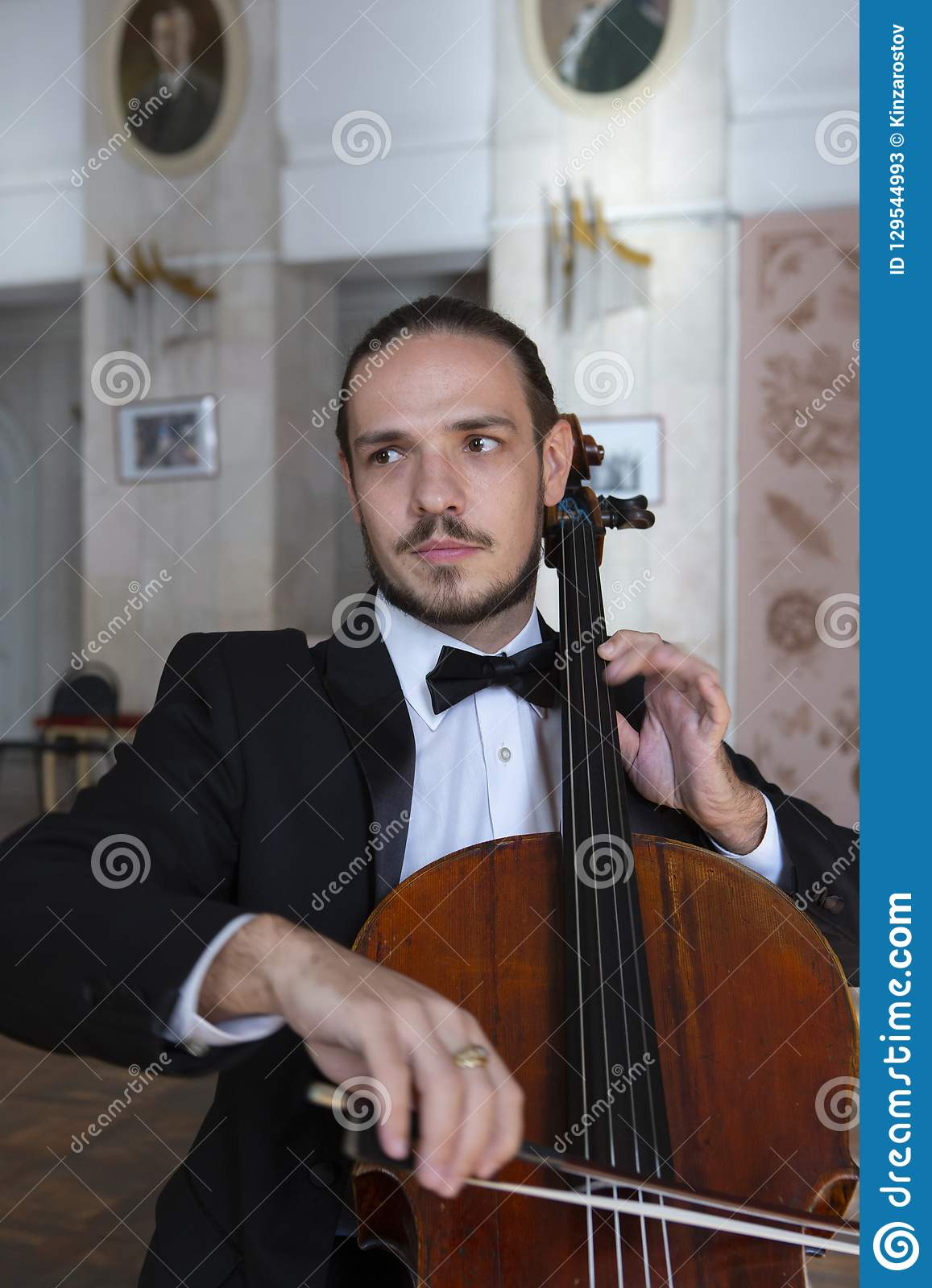 Young man playing the cello. Portrait of the cellist