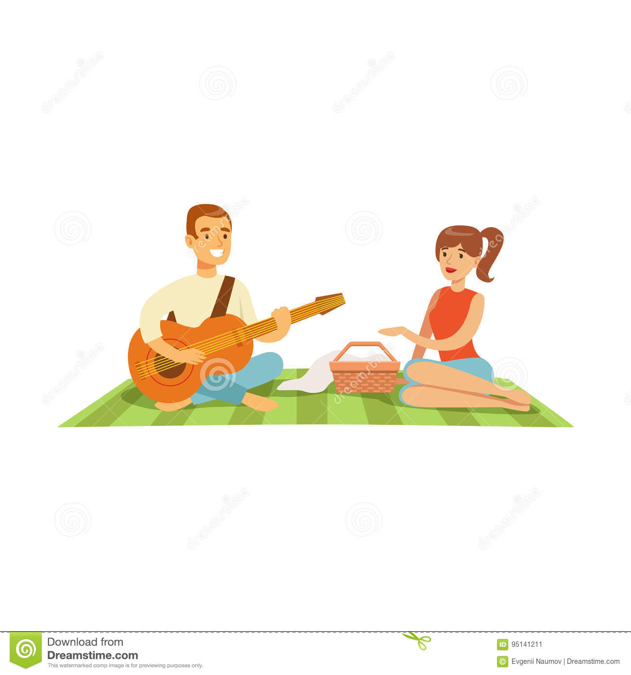 Young man playing guitar to his girl on a picnic, happy couple in love sitting on a picnic plaid vector Illustration