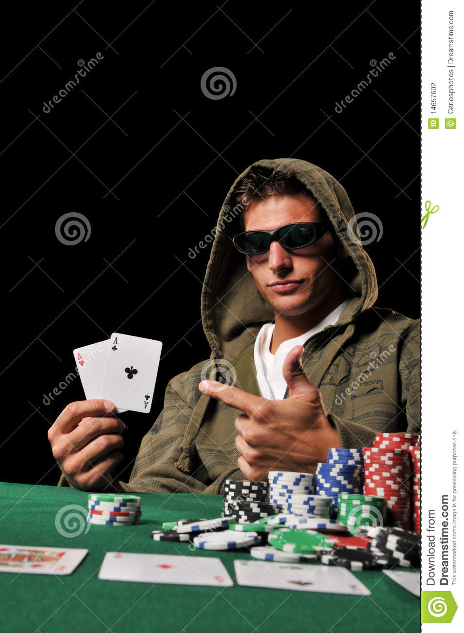 Young Man Playing Poker Stock Photography Image 14657602