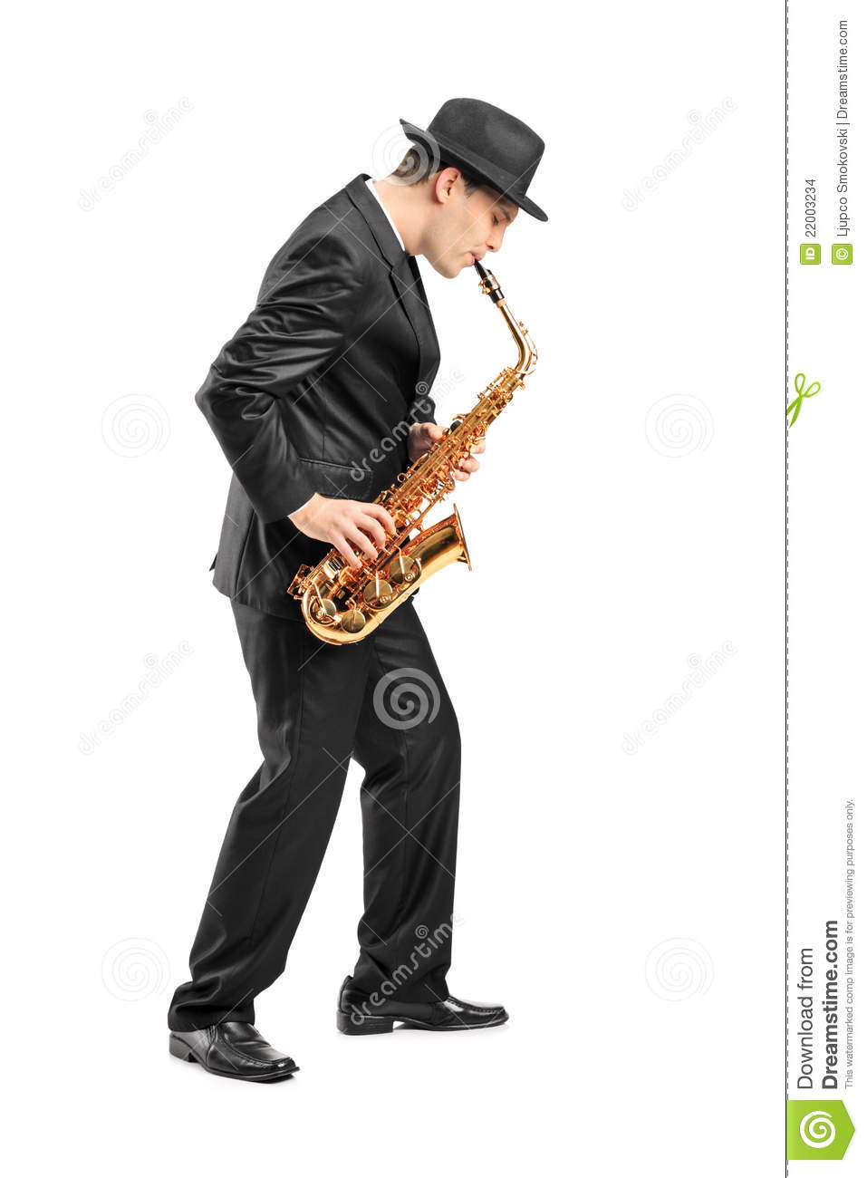 Young Man Playing On Saxophone Stock Images Image 22003234