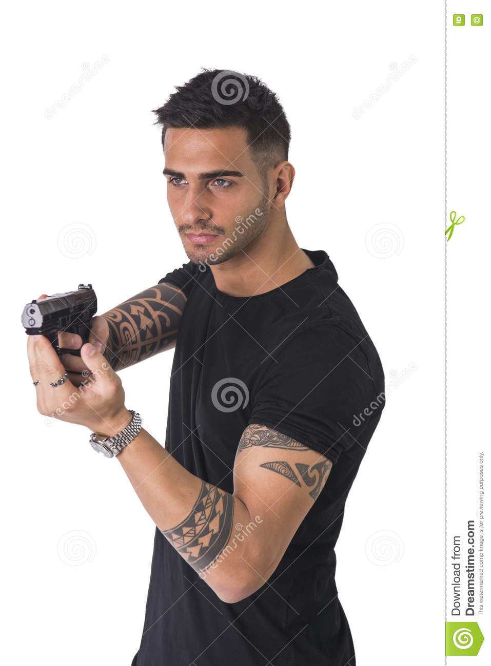 Young man pointing gun, stock photo. Image of adult, male ...