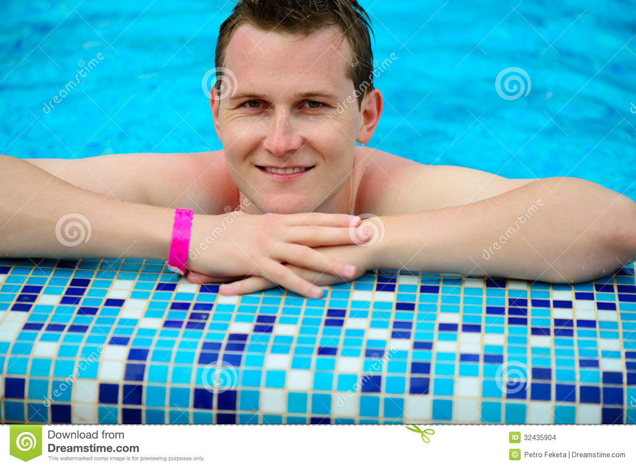 Young man portrait at swimming pool stock images image for Pool man show