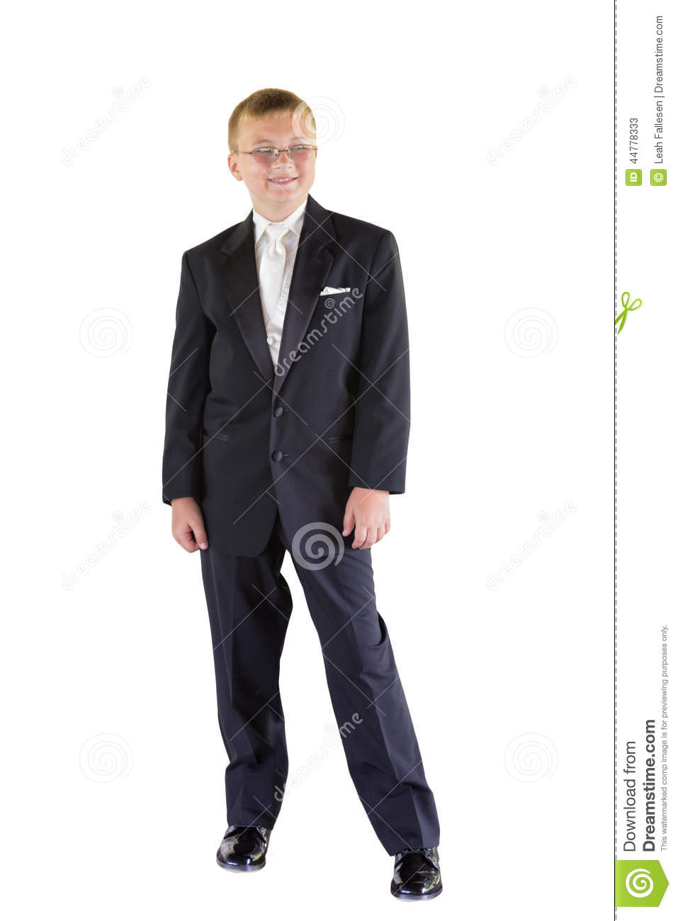 Boy In White Suit And Shoes