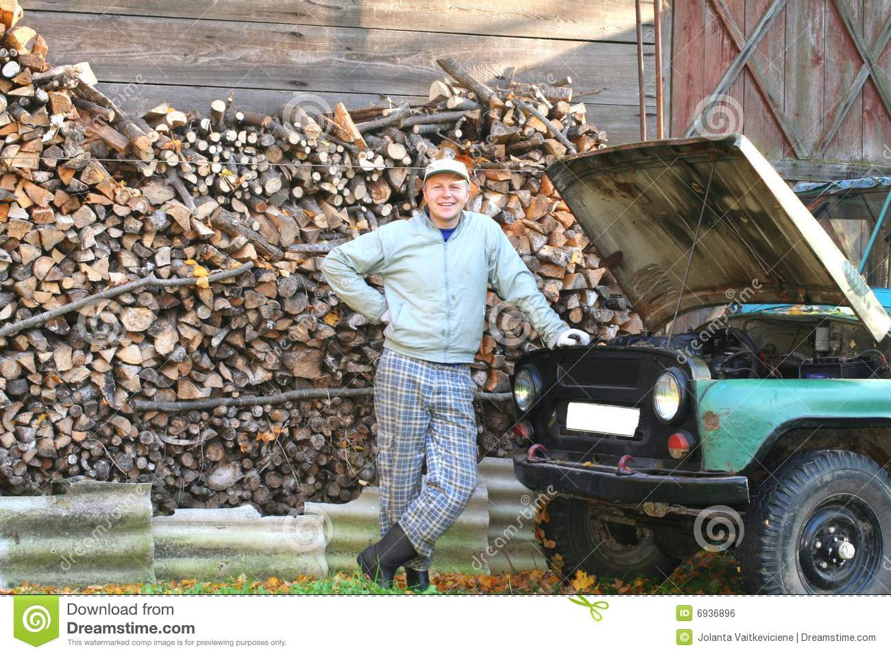 Young man proud of his old car royalty free stock image image