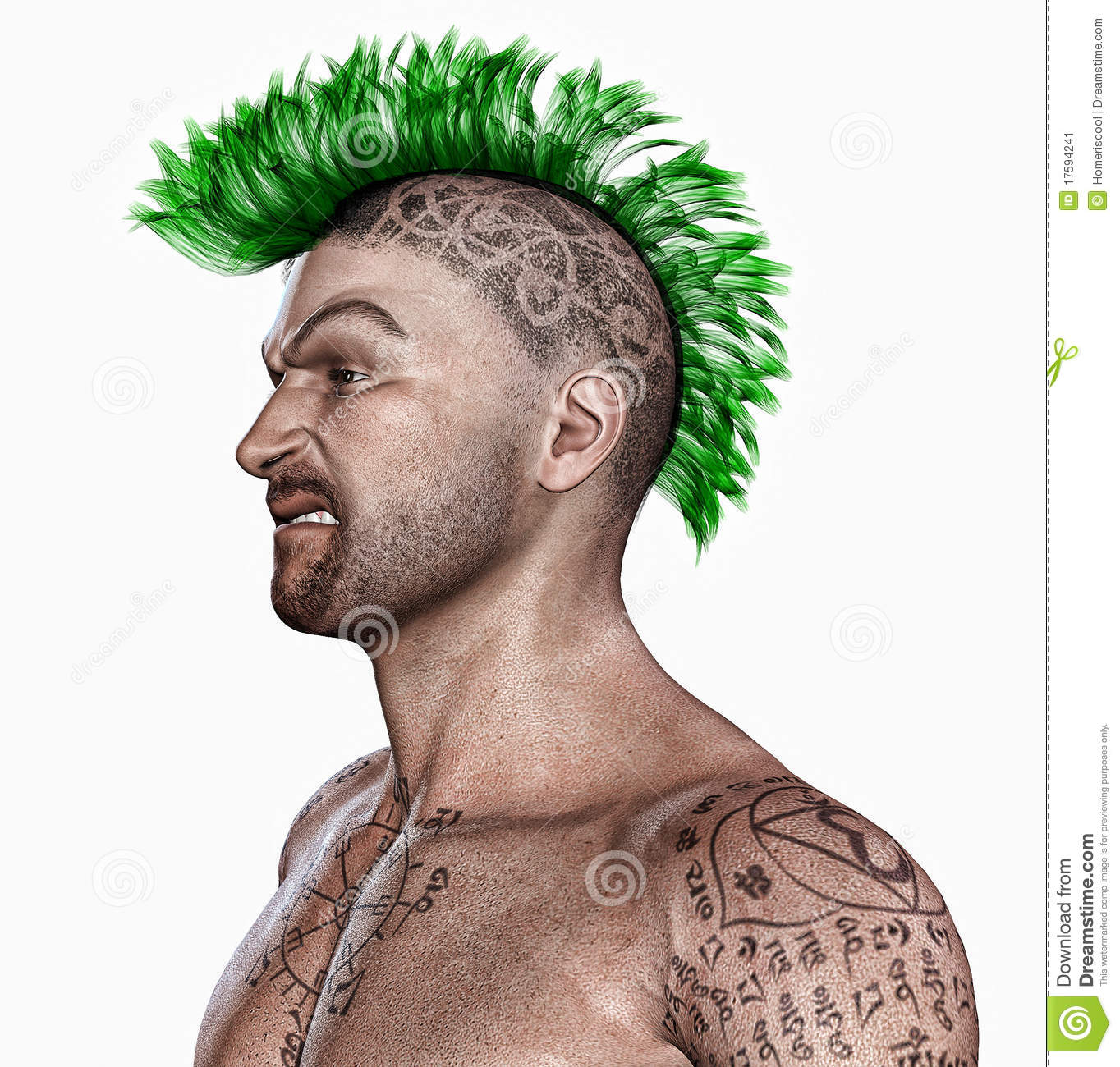 Young Man With A Punk Hair Style And Tattooes Stock Image