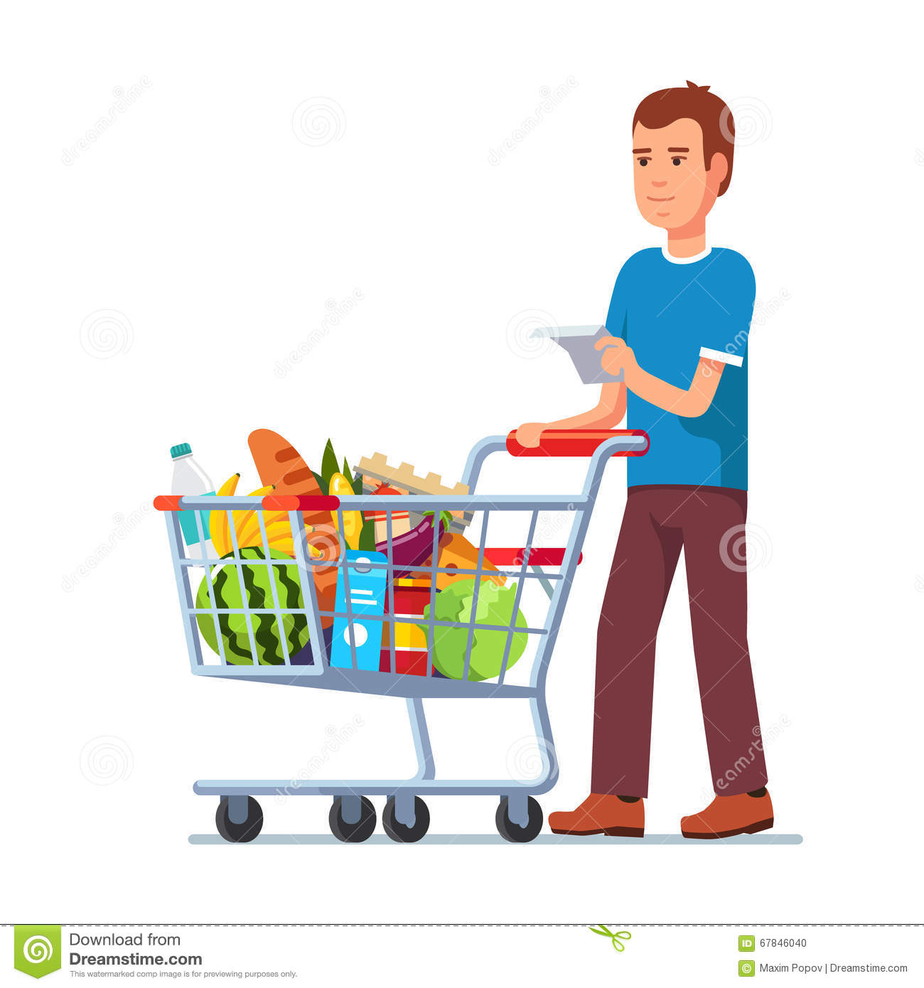 young man pushing supermarket shopping cart stock vector Grocery Bag Clip Art grocery cart clip art black and white